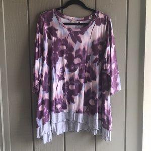 LOGO Lori Goldstein 2X plum & dusty rose tunic